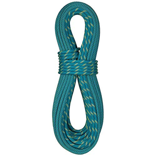 (BlueWater Ropes 9.1mm Icon Double Dry Dynamic Single Rope (Bi-Pattern Blue, 60M) )