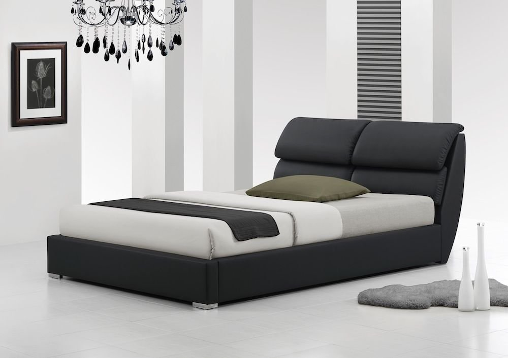 IJ Interiors - LIBRETTO MODERN LEATHER BED No Mattress BLACK 4FT6 ...