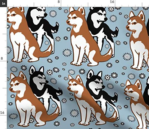 Siberian Husky Fabric - Husky Puppy Pet Decor Husky Siberian Dog Dogs Snowflake Puppy Puppies Pet by Dogdaze Printed on Basic Cotton Ultra Fabric by The Yard