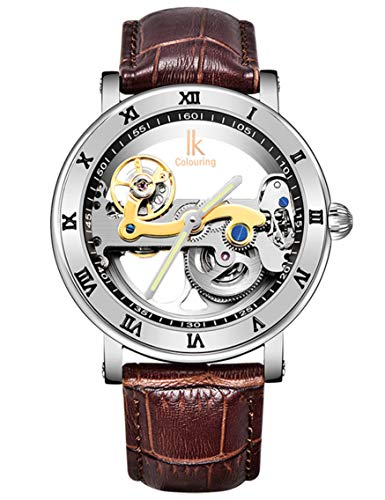 Gute Luxury Steampunk Bling Automatic Mechanical Wristwatch Minimalist Gold Tone Bezel Dark Brown PU (Bridge Watch Automatic)