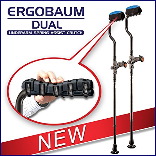 Ergobaum Dual Ergonomic Underarm Crutches (1 Pair) of Double-Function Shock Absorber Underarm Crutches with Arm Support by Ergoactives