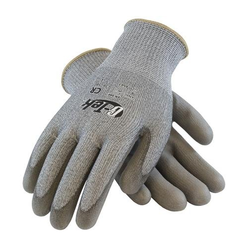 G-Tek CR, Gray HPPE/Glass 13 Gauge Seamless Liner, Gray Polyurethane Coated Palm and Fingers, M