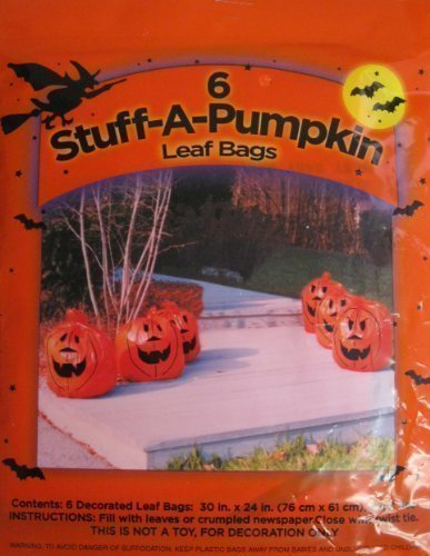 6 Pack Pumpkin Leaf Bags
