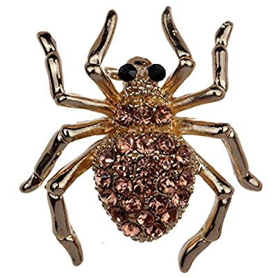 Yazilind Jewelry Gold Plated Champagne Crystal Pretty Spider Brooches and Pins for Wedding Party free shipping