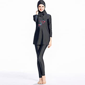 458e92a7119 ziyimaoyi Muslim Swimwear Modest Lady's Full Coverage Swimming Beachwear  Islamic Swimsuit (S, Black)