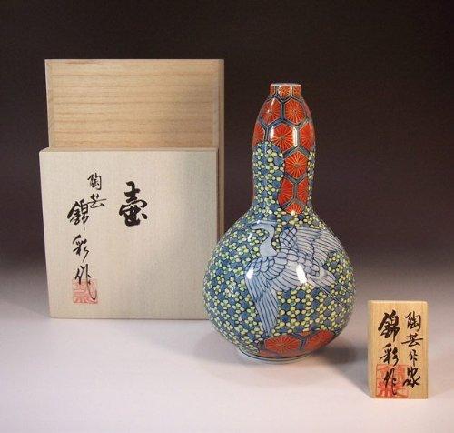 有田焼伊万里焼の陶器花瓶亀甲文様|贈答品|ギフト|記念品|贈り物|陶芸家 藤井錦彩 B00JO79BSW