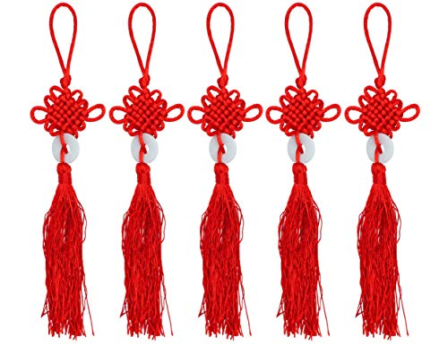 LBY Chinese Tassel Chinese Knot Red Handmade Oriental Imitation Jade Peace Buckle Tassel, Lucky Knots to Attract Wealth Good Fortune and Health,for Door and Car Handing -