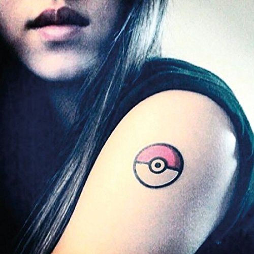 Pokemon Pokeball Temporary Fake Tattoo Sticker (Set of 2) - -