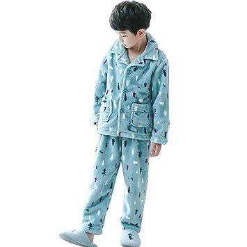 f4d7027a61 Meng Wei Shop Pijamas Dos Piezas Pijamas de Franela para niños Pijamas  Gruesos de Invierno Pijamas de niño Pijamas Calientes para niños (Color    Blue