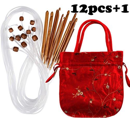 Case of Carbonized Bamboo Crochet Afghan Tunisian Crochet Hooks Set with Plastic Cable Bamboo Crochet Knitting Needles Hooks Kit Yarn Knitting Needles Set Scarf Blanket Garment 12 Sizes by Athena YY