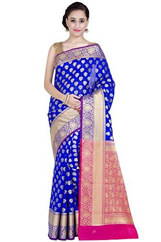 Chandrakala Women's Royal Blue Kataan Silk Blend Banarasi Saree,Free Size(1269ROY)