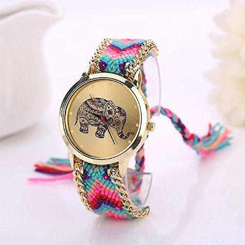 IEason Elephant Pattern Weaved Rope Band Bracelet Quartz Dial Watch (C) (Set Elephant Coin)
