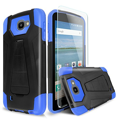 For LG Optimus Zone 3/LG Spree/LG Rebel VS425/LG K4 L44VL Case With TJS® Tempered Glass Screen Protector Included, Dual Layer Shockproof Hybrid Armor Drop Protection Built-in Kickstand (Blue/Black) (Lg Phone Case Optimus compare prices)