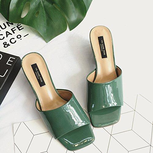 ZYUSHIZ Sandalen Hausschuhe Sommer Frau Outdoor Freizeitaktivitäten koreanische Version, 37EU, Grün