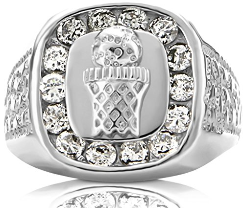 Men's Sterling Silver .925 Ring Featuring a Basketball and Hoop Surrounded by Fancy Channel-Set Cubic Zirconia (CZ) Stones , Platinum Plated. By Sterling Manufacturers