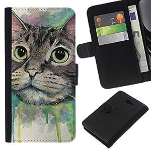 Stuss Case / Funda Carcasa PU de Cuero - Pintura del gato feliz - Sony Xperia M2