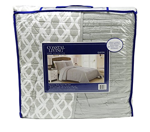 Coastal Living Home Collection Queen Size Garment Wash Quilt Mini Set (Grey/White) (Quilt Coastal Collection)