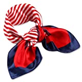 DGFA INC Silk Feel Striped Square Scarf Gift Idea (Beautiful Blue and Red Stripe Pattern Print)