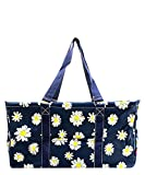 N. Gil All Purpose Open Top 23'' Classic Extra Large Utility Tote Bag (Daisy Navy)