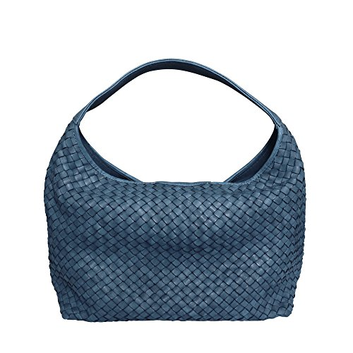 Blue Bucket Italian Washed Masi Paolo Hobo Leather Handbag Hand Shoulder Woven Bag xCPIwq0