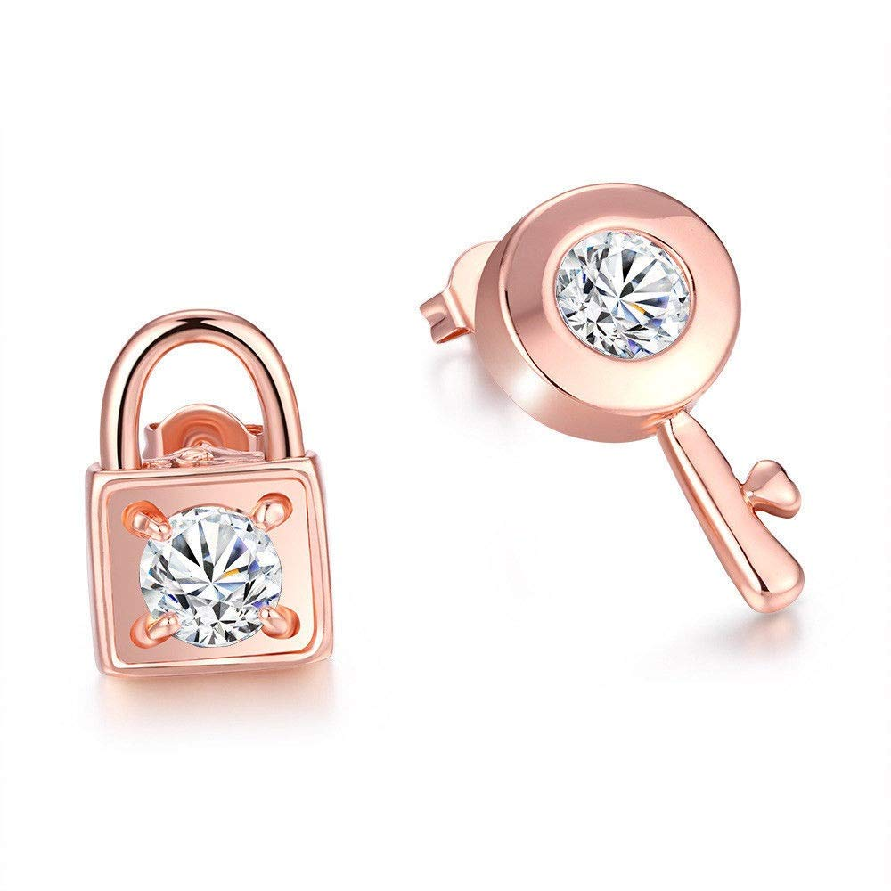 h5/_jc 1 Pair Women Rose Gold Plated Lock Key Cubic Zircon Asymmetric Ear Stud Earrings