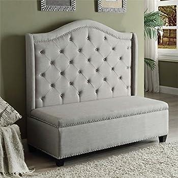ACME Furniture Fairly 57262 Storage Settee, Beige Fabric & Espresso