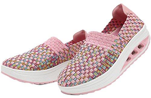 Forme Des Femmes Adultes Mesh Mesh Chaussures De Marche Casual Sneakers De Mode Rose
