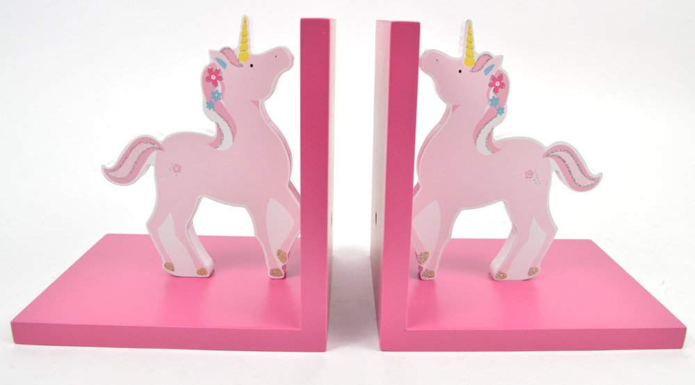 Concepts Girls Pink Unicorn Bookends Colorful And Wooden Features