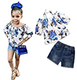 UNIQUEONE 2Pcs Toddler Girls Off Shoulder Floral T-Shirt+Ripped Jeans Short Outfit Clothes Sets Size 5-6 Years/Tag130 (White)