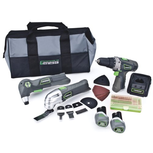 Genesis GL12DHOK2 12V Lithium-Ion Combo Kit-3/8-Inch Drill, Oscillating Tool, Close Quarter Hammer and 65 Accessories,  3-Piece