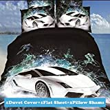 Ttmall Twin Size 100% Cotton 3d Black White Green Cars for Boys Men Printed Bedding Sets Duvet Cover Set/ Bed Linens (Twin, 4pcs Without Comforter(flat Sheet))