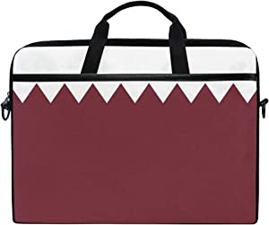 Ainans Qatar Flag 15 inch Laptop Case Shoulder Bag Crossbody Briefcase Messenger Sleeve for Women Men Girls Boys