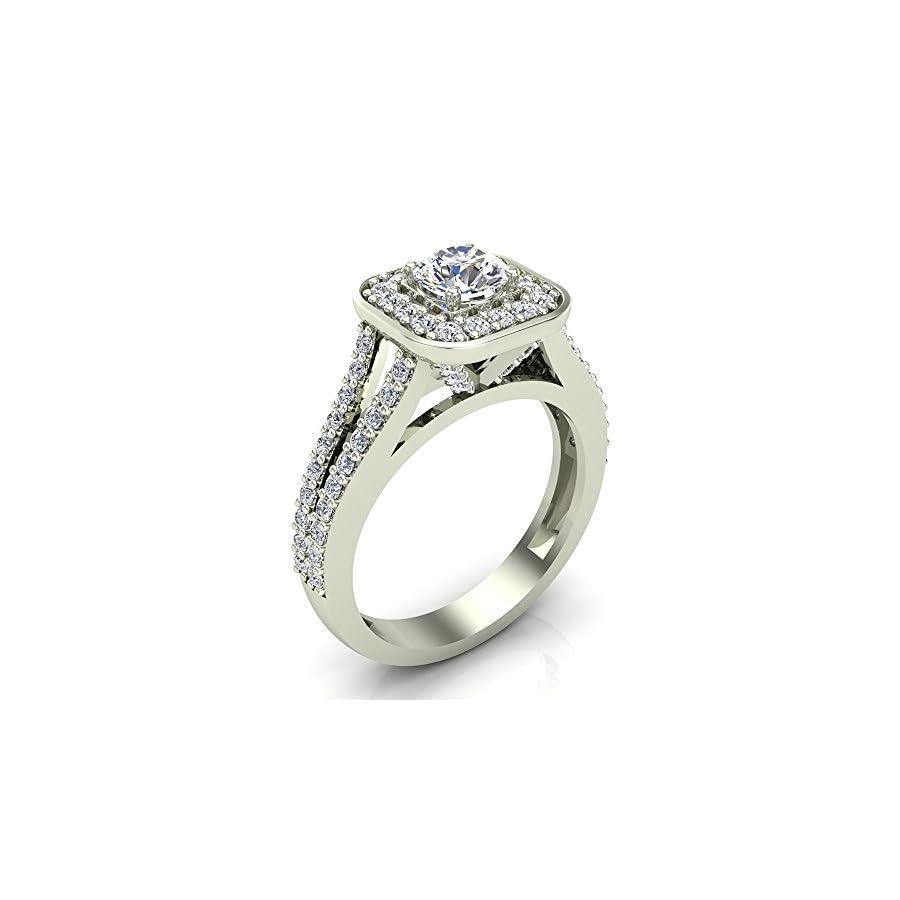 Cushion Halo Split Shank Diamond Engagement Ring 14K Gold 1.10 carat total weight (G,I1)
