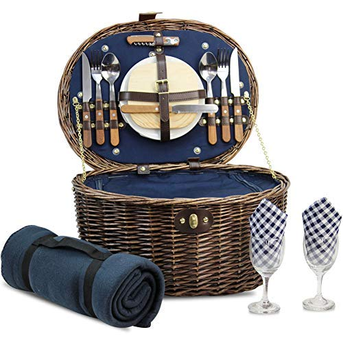 HappyPicnic 'Oval' Willow Picnic Basket with Service for 2 Persons with 'Built-in' Insulated Cooler, Natural Wicker Picnic Hamper, Willow Picnic Set, Picnic Gift Basket (Navy Blue)