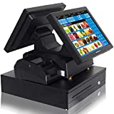 all cash register - ZHONGJI MS-808D All in One Retail Bundle Cash Register Pos Point of Sale 15 Inch Dual Touch Pos System(Intel J1800 2.4GHz / 64G SSD/4GBRAM)-NO OS-NO-POS Software-Black(MS-808D-SET06)