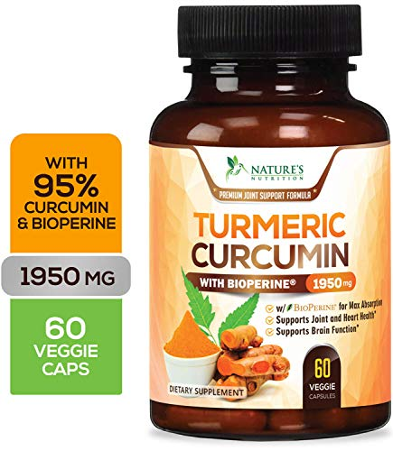 Turmeric Curcumin Max Potency 95% Curcuminoids 1950mg with Bioperine Black Pepper for Best Absorption Best Vegan Joint Pain Relief Made in USA Turmeric Pills by Natures Nutrition  60 Capsules