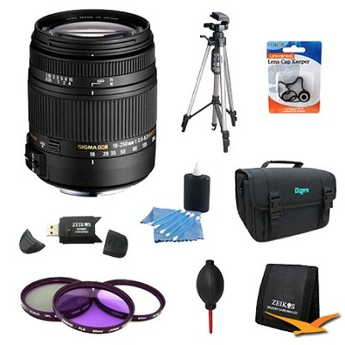 Sigma 18-250mm F3.5-6.3 DC OS HSM Macro Lens for Nikon AF with Optical Stabilizer Includes Bonus Xit 60'' Full Size Photo / Video Tripod, and More by Sigma