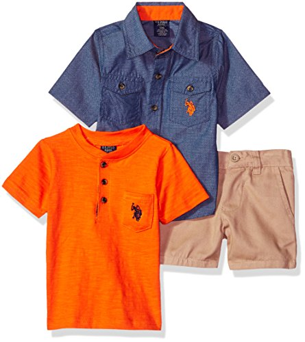U.S. Polo Assn. Baby Boys Sleeve, T-Shirt and Short Set, Blues with Orange/Multi Plaid, 12M
