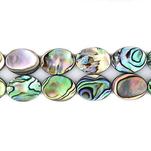 Natural 16mm Abalone Shell Flat Oval Beads Strand 16