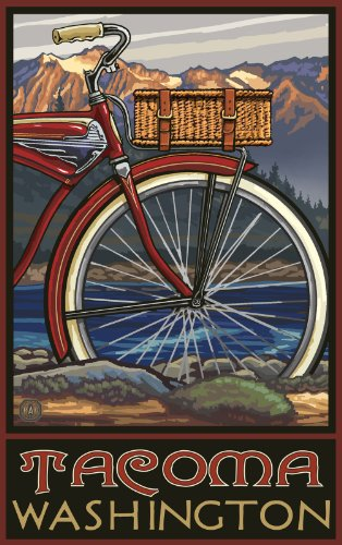 Northwest Art Mall Tacoma Washington Fat Tire Bike Unframed Poster Print by Paul A. Lanquist, 11-Inch by - Malls Tacoma