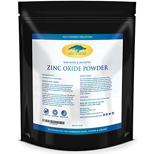 (16 oz) Zinc Oxide Powder - Non Nano, Uncoated, Pharmaceutical Grade and Lead Free - Use to Make Ointments, Sunblock, Sunscreen Sticks, Acne with RECIPE EBOOK
