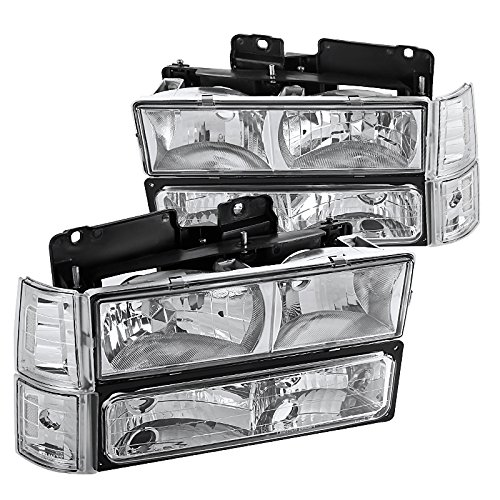 Spec-D Tuning LBCLH-GMC94-SY Chrome Headlight (Euro With Corner Lights And Bumper (Chrome Euro Corner Lights)