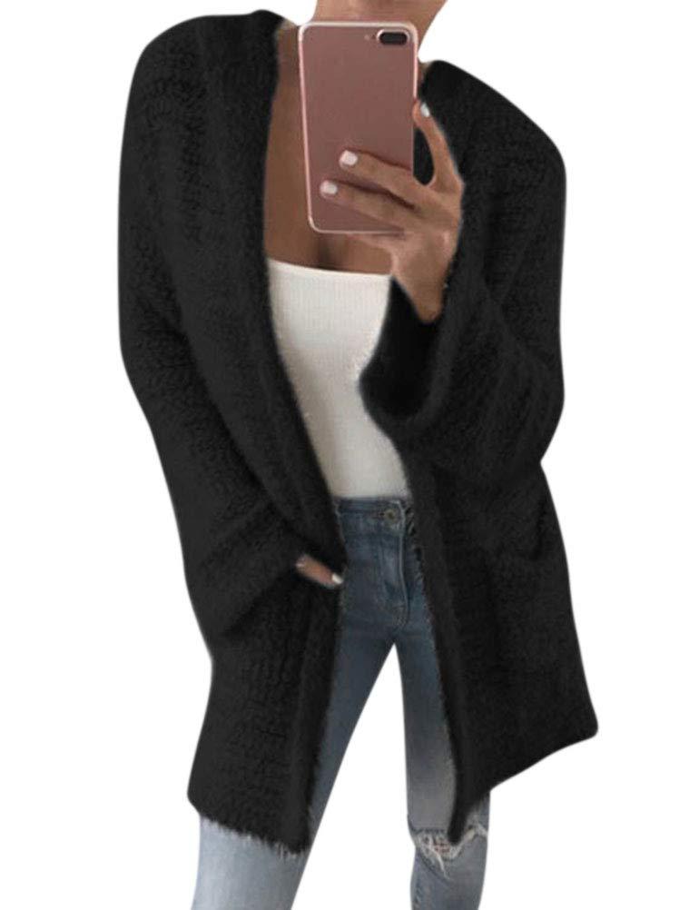 Ezcosplay Women Long Sleeve Open Front Solid Color Sweater Cardigan Coat Outwear