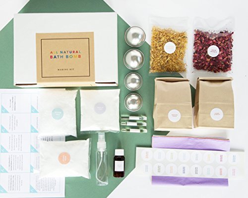 DIY Luxe Bath Bomb Making Kit with 2 Sets of Metal Molds - Everything You Need to Make 15+ Luxury Bath Bombs with Natural & Organic Ingredients - Flower Packs, Essential Oil ALL INCLUDED!