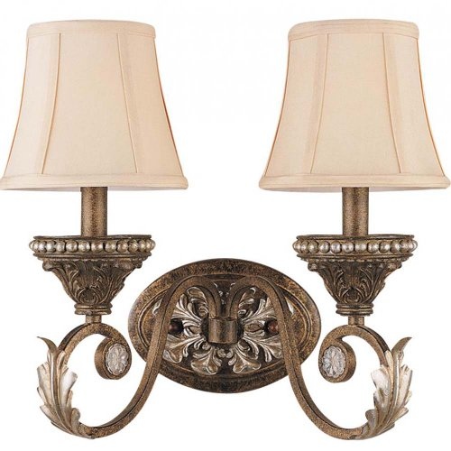 (Crystorama 6722-WP Traditional Two Light Wall Sconce from Roosevelt collection in Bronze/Darkfinish, 9.50)
