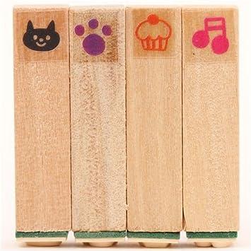 Juego 4 uds mini sellos kawaii japoneses gato magdalena