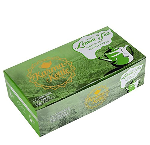 Karma Kettle Green tea with lemon, Count of 100 teabags box, Refreshing and Zesty Green tea with lemon tea, Pure green tea, Fresh from the gardens (Tea Refreshing)