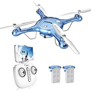 DoDoeleph Syma X5UW Wifi FPV HD Camera Quadcopter Drone with Flight Plan Route App Control and Altitude Hold Function With Extra Battery from DoDoeleph