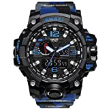 Bounabay Men's Military Digital Sport Watch Water Resistant Outdoor LED Back Light Display, Camouflage Blue