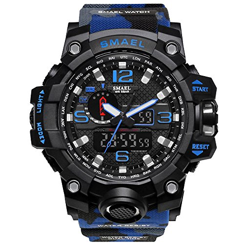 Bounabay Mens Military Digital Sport Watch Water Resistant Outdoor LED Back Light Display, Camouflage Blue